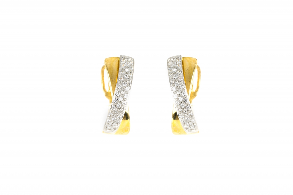 Brincos de ouro branco e amarelo com  zircónias